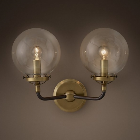 Бра Restoration Hardware BISTRO GLOBE CLEAR GLASS DOUBLE SCONCE